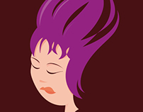 Purple haired woman