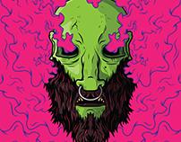 Skull with beard and pink smoke