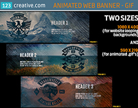 Animated website banner - GIF social media timeline