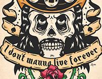 Lemmy Kilmister Skull Fan Art Screenprint