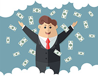 Businessman at work - for your design. Flat style illus