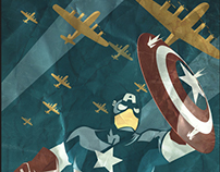 Captain America Distressed Canvas Poster (Marvel)