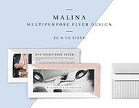 MALINA One Third Page Flyer + Seamless Pattern