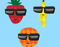 Cool Fruits character illustration - temp tattoo/card