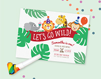Jungle Themed Birthday Party Invitation