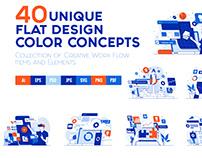 Set of 40 Modern Flat Design Concepts on various topics