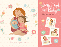 Mom Dad and Baby. Big vector set