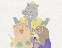 """LINE sticker """"Pig, Hippopotamus, Mole"""""""