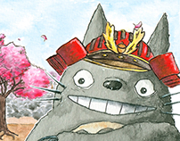Totoro takes Kyoto (custom illustration)