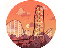 Roller Coaster Spot Illustrations