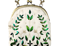 Beetle wings embroideried handbag