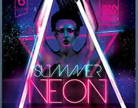 Summer Neon Party Flyer