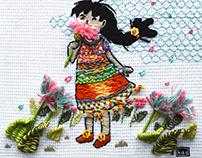 Campo de flores - bordado