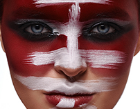 """Japanese word """"Beauty"""" on red painted Face of Woman"""