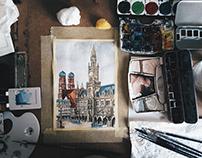München/Münih Watercolor
