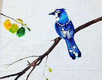 Bluejay at rest - Acrylic on Cotton