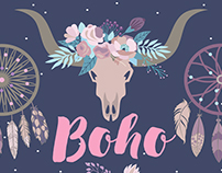 Set of vector Boho elements