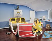 Manga One Piece themed child bedroom