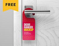 Free Door Hanger Mockup Set