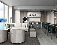 Studio and the Living room Interior design 3D Rendering