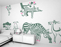 peaceful jungle :: savannah animal kids wall decals