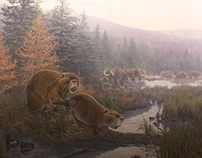Castoroides (Giant Beaver) Mural and Diorama