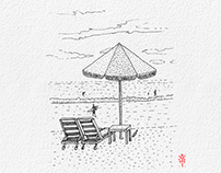 Ink Illustration: Beach Umbrella