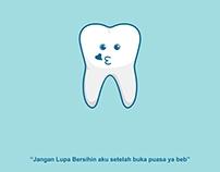 Cute teeth emoticon for kids education