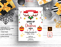 Reindeer Christmas Party Invitation