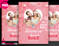 Valentine's Day Free Sale Flyer PSD Template