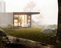 The autumn house. Foggy.