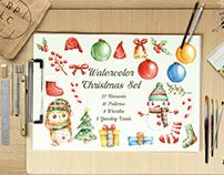 Watercolor Christmas Set