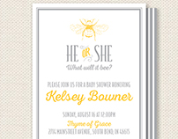 """""""What Will it Bee?"""" Gender Reveal Baby Shower Invite"""