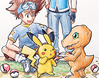 Pokémon and Digimon Artwork