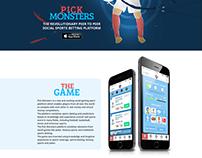Pick Monsters web site & ui elements