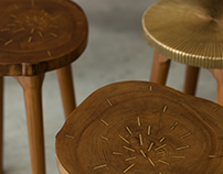 Tekku Stools / Wood + Brass