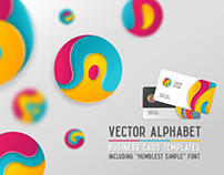 Round alphabet & Business card templates