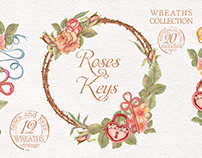 Watercolor vintage set with wreaths, flowers and keys