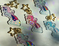 Unicorn Pride Keychains, Pins, & Stickers