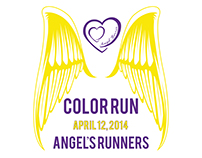 Color Run, Angel's Runners - Logo and T-Shirt Design