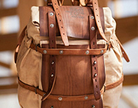 Canvas and leather backpack 075/2019