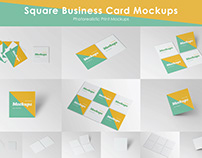 Square Business Card Mockups | Free Download