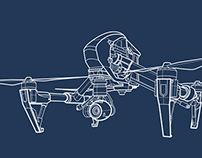 Aerial Drone Camera Technical Line Drawings