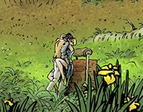 Der Junge lebt im Brunnen