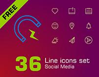 FREE Social Media Line Icon Set