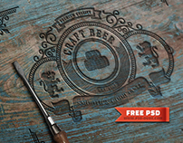 Photoshop Engraved Wood Free PSD