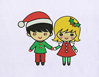 Beautiful Christmas Couple Embroidery Design