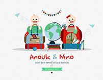 Anouk et Nino (faire-part de naissance)