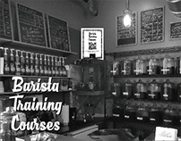 Poster design: Barista Training Courses QR board
