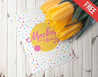 Holiday Card With A Tulips – 6 Free PSD Mockups
